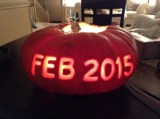 DIY Carved pumpkin baby announcement