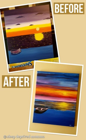 before-and-after-acrylic-sunset-painting
