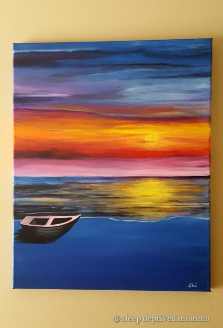 boat_sunset_acrylic_painting
