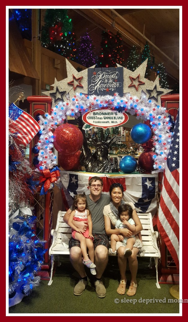 Family photo at the world's largest Christmas store.