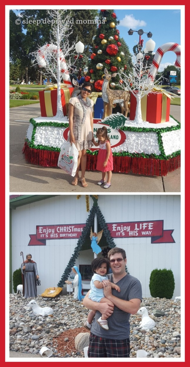 Photos outside Bronner's Christmas Wonderland.