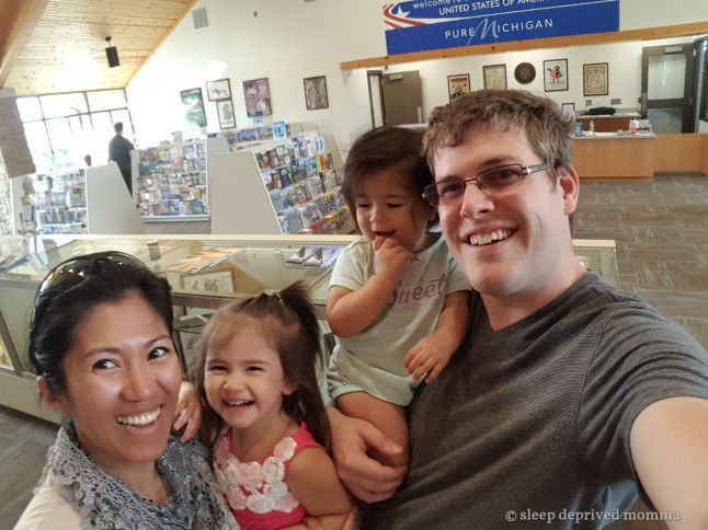 Family photo at Michigan's visitors' center.